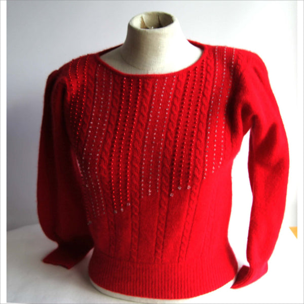 Womens Red ANGORA Lambswool Sweater Petite Puffy Shoulder Jewel Pearl Crystal Red Cable Knit Sweater Super Soft NORDSTROM Size P
