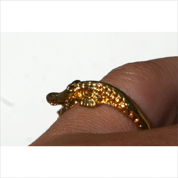 Womens Ring Alligator Crocodile Jewelry in Sparkling Gold Tone with Body Twisting around Finger Exotic Jewelry