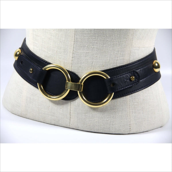 Womens Wide BeltHorsebit Double Gold Ring  Navy Blue and Gold Leather Big Over Sized Gold Rings and Belt Buckle for Women