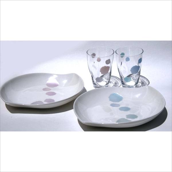 ZADA NEW YORK Artist Guild Iridescent Baby Blue and Pink Leaf Shaped Plate & Glass Set New in Box Made in Japan