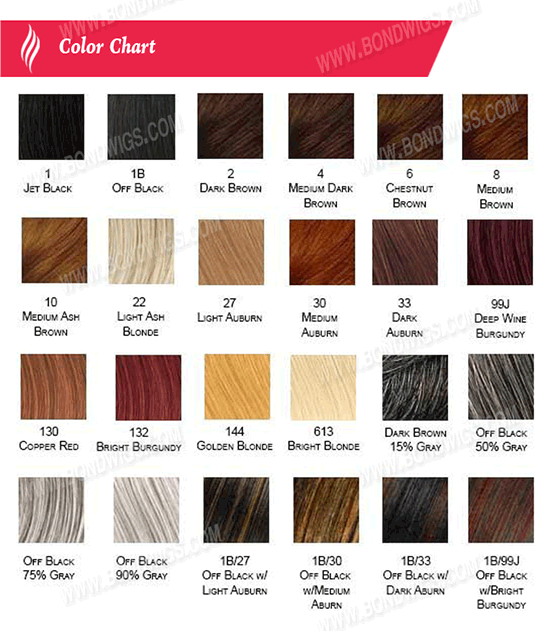 Full Lace Wig - Lace Front Wig - color chart