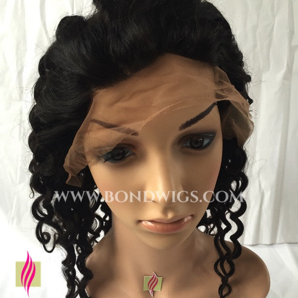 "14"" Frontal Lace Wig Curly Natural Black Color (baby hair)"