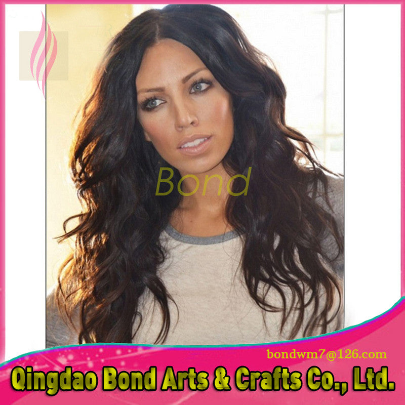 Indian Hair - Stock 16inch Lace Frontal Wigs 120% Density Indian Remy Human Hair Body Wavy Curly Top Quality Free Shipping - BONDWIGS