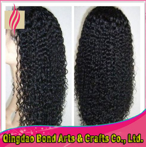 Malaysian Hair - High quality glueless full lace wigs kinky curl front lace wigs malaysian virgin human hair wigs 130%density  for black women - BONDWIGS