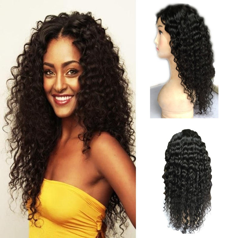 Brazilian Hair - 130 density Cheap Kinky Curly wig Brazilian  full lace  wig for black women & human hair lace front wigs free shipping - BONDWIGS