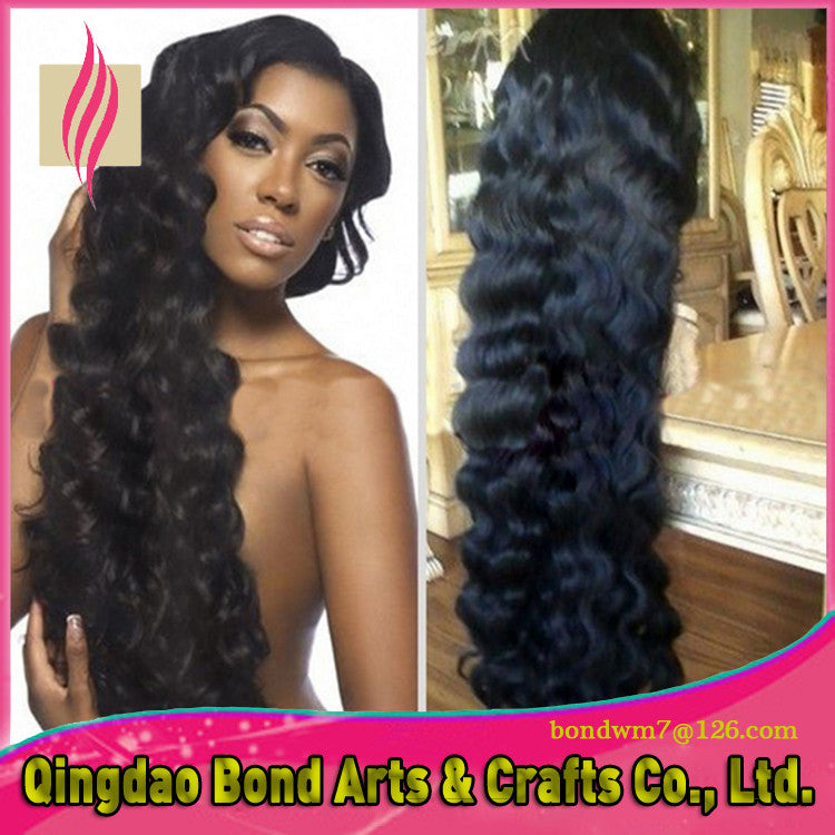 Brazilian Hair - Hot selling loose wave glueless full lace wig & front lace wig brazilian virgin hair with baby hair for black women - BONDWIGS