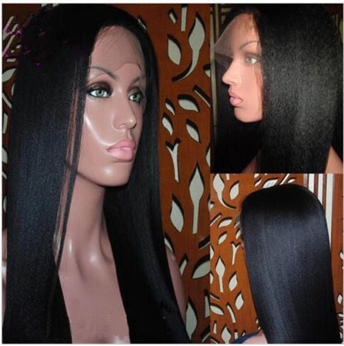 Italian yaki straight full lace human hair wigs 6A grade malaysian human hair front lace wigs 130%density with natural hairline