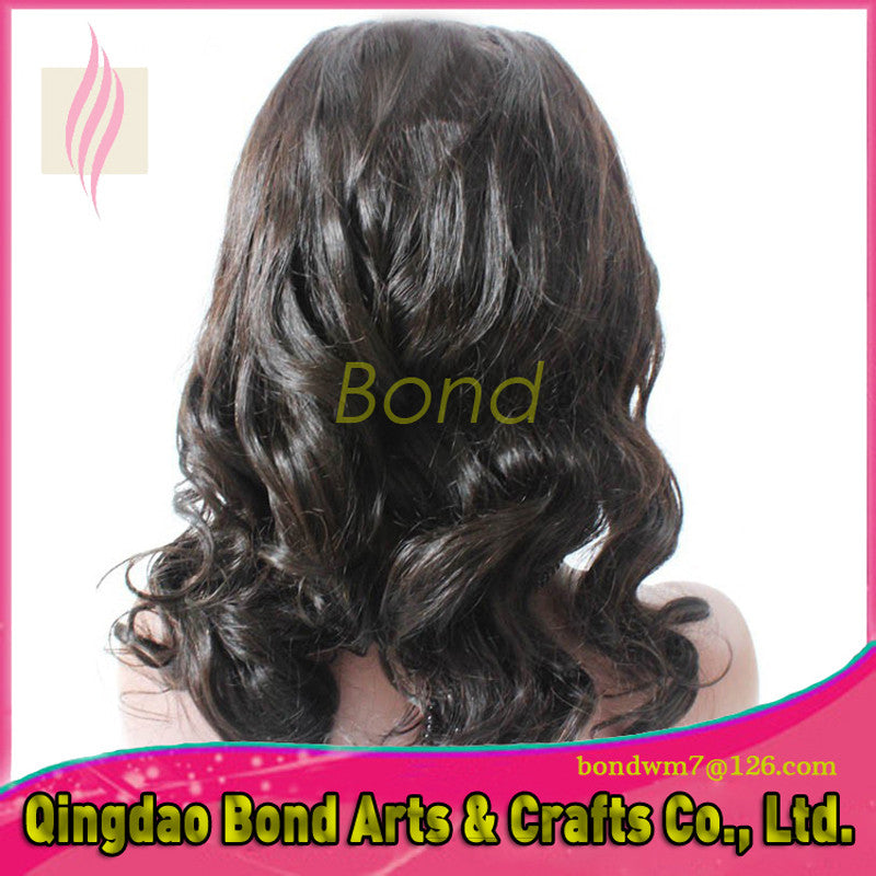 Indian Hair - Fashion women hair products 130% density medium wavy indian remy human hair front lace wigs & full lace wigs with natural hairline - BONDWIGS
