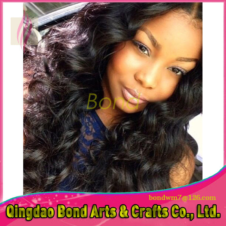 Brazilian Hair - 7A Full lace human hair wigs for black women Glueless full lace wigs Brazilian virgin hair wavy human hair lace front wigs - BONDWIGS