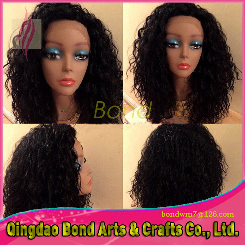 Fashion Brazilian Hair Curly Glueless Full Lace Wigs For Black Women 6A Kinky Curly Human Hair Lace Front Wig Free Ship