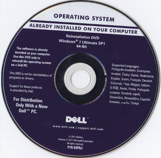 Microsoft Windows 7 Ultimate 64 Bit Restore Disc Dell