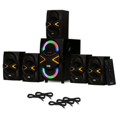 Acoustic Audio AA5210 Home Theater 5.1 Speaker System with Bluetooth, LED Lights, FM and 5 Extension Cables