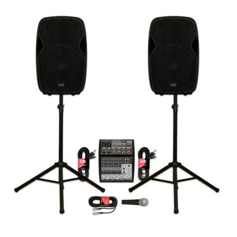 Acoustic Audio AA15BT Powered 2000 Watts 15 Bluetooth Speaker Pair with Mixer Mic and Stands