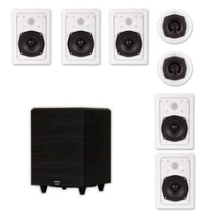 "Acoustic Audio HT-57 In-Wall/Ceiling 7.1 Home Theater Speakers and 8"" Powered Sub HT-57-PS8"