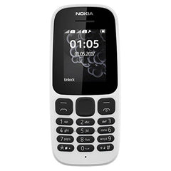 Nokia 105 [2017] TA-1037 Dual-Band (850/1900) Factory Unlocked Mobile Phone White
