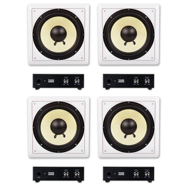 "Acoustic Audio HD-S10 In Wall 10"" Home Theater Passive Subwoofers 4 Speaker and 4 Amplifier Set"