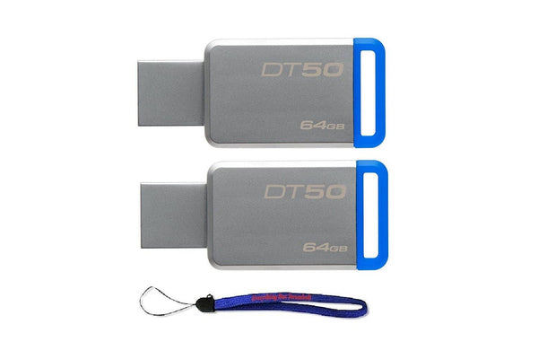 Kingston (TM) Digital 64GB (2 Pack) USB 3.0 Data Traveler 50 Flash Drive - Blue