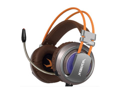 XIBERIA V10 USB Surround Sound Gaming Headset -Gray/Brown