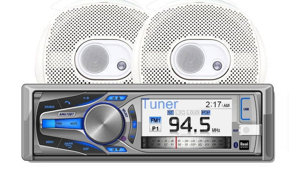 Dual AMCP615BT Marine Stereo CD Receiver with 3-Inch Color LCD and Bluetooth Speakers