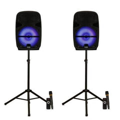 "Acoustic Audio PRTY122 Battery Powered 12"" Bluetooth LED Speakers with Wireless Mics and Stands"