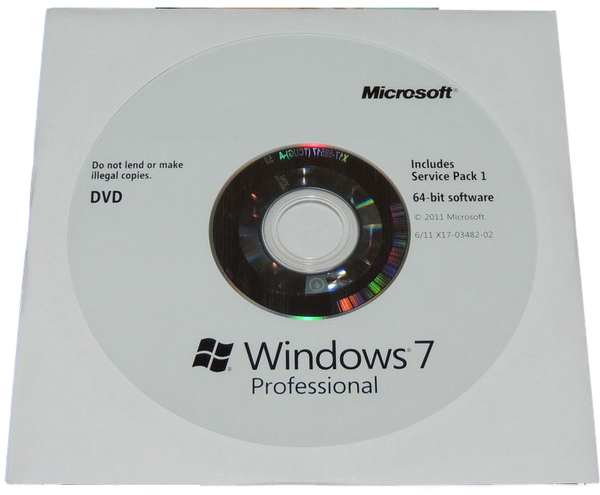 Microsoft Windows 7 Professional 64 Bit Installation Disc