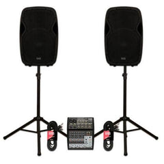 "Acoustic Audio AA15BT Powered 2000 Watts 15"" Bluetooth Speaker Pair with Mixer and Stands"