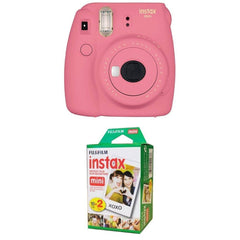 Fujifilm Instax Mini 9 Instant Camera - Flamingo Pink with Twin Pack
