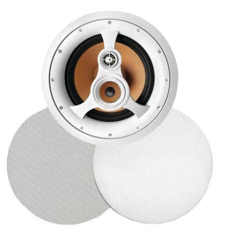"250W 3-Way 10"" In-Ceiling Speaker with Pivoting Tweeter and Midrange, Metal and Cloth Grills"