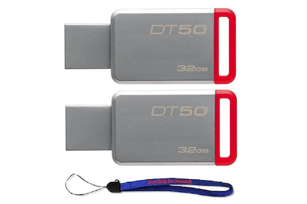 Kingston (TM) Digital 32GB (2 Pack) USB 3.0 Data Traveler 50 Flash Drive - Red