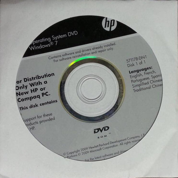 Microsoft Windows 7 Home Premium 32 Bit Restore Disc HP