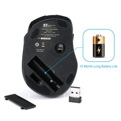 VicTsing - MM057 2.4G Wireless Portable Mobile Mouse - Black