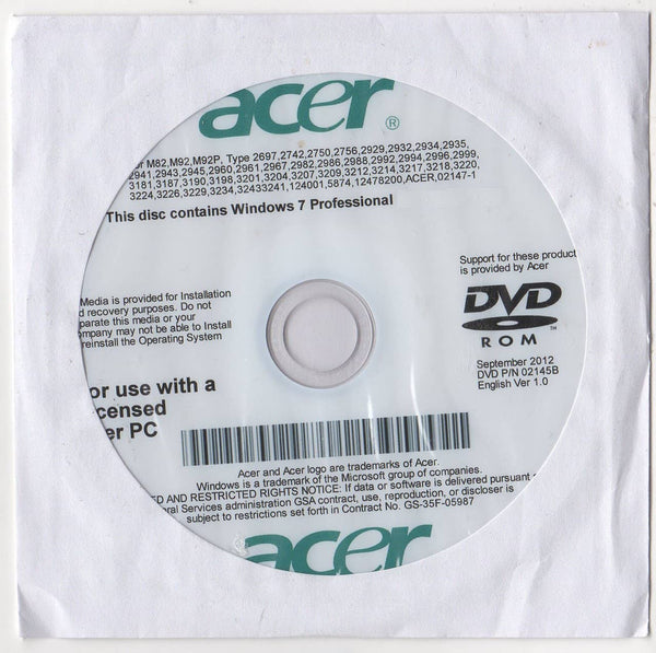 Microsoft Windows 7 Professional 32 Bit Acer Restore Disc