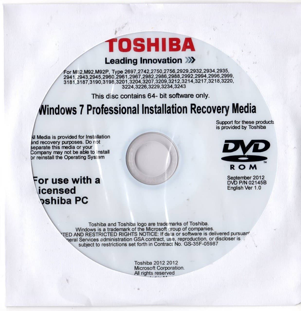 Microsoft Windows 7 Professional 64 Bit Toshiba Restore Disc \u2013 The