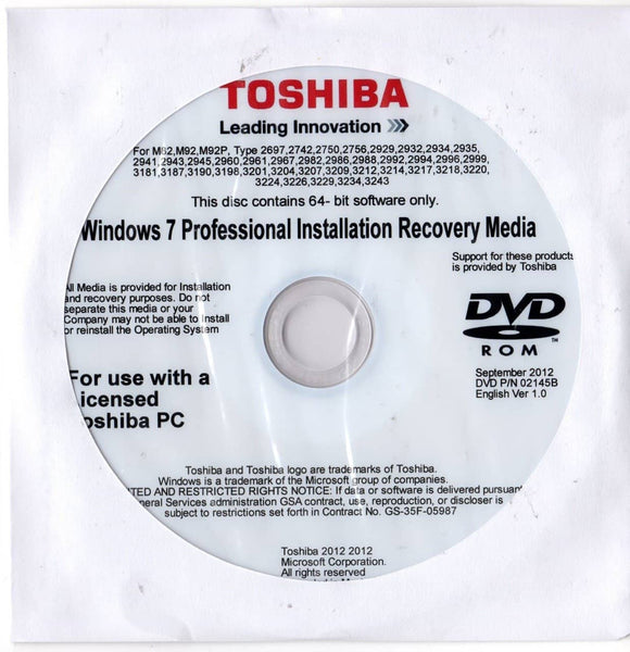 Microsoft Windows 7 Professional 64 Bit Toshiba Restore Disc