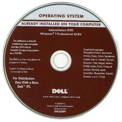 Microsoft Windows 7 Professional 32-Bit Restore Disc Dell