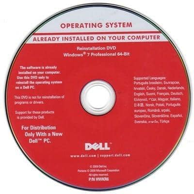 Microsoft Windows 7 Professional 64-Bit Restore Disc Dell