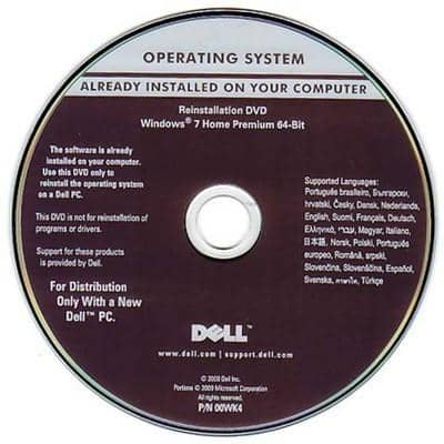 Microsoft Windows 7 Home Premium 64-Bit Restore Disc Dell