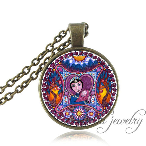 Jewerly - Empress Tarot Card Necklace Vintage Mandala Art Picture Jewelry Sun Yoga Pendant Tree Of Life Choker Necklace