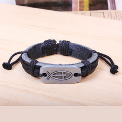 Fashion Cross Leather Small Fish Pattern Bracelet