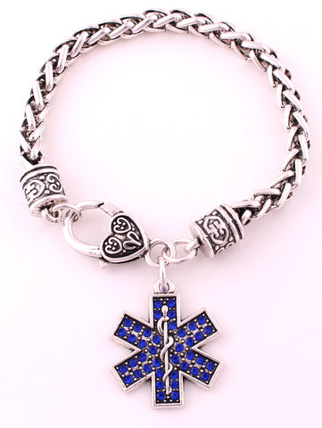 Antique sliver plated studded EMT charm bracelet