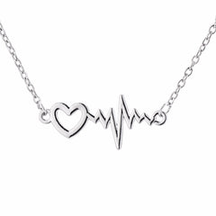 Heartbeat Zigzag Wave Pattern Pendant Necklace