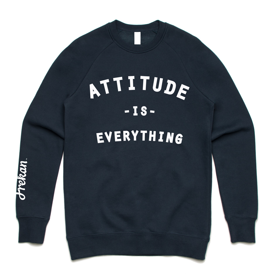 Frekan Attitude is Everything Navy Crew sweater