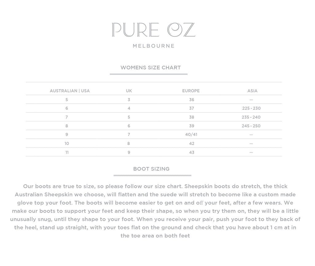Pure Oz - Size Chart and Fitting