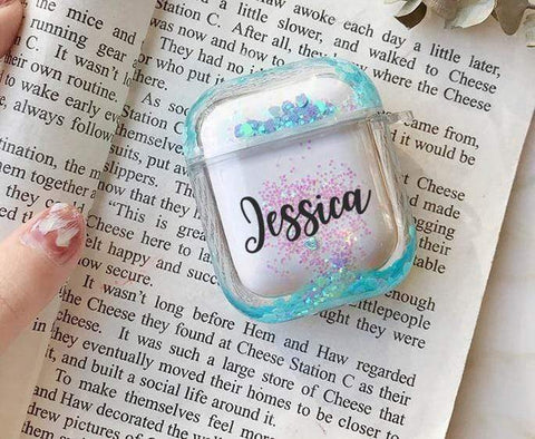 BlingQueenAu 200001619 Air pod Case Customized Name Personalized Airpods Blue Glitter Case Personalized Gift Airpod case Cute Air pod bling case cover