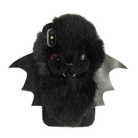 BlingQueenAu Bat iPhone 11/11Pro/XSmax/XR/XS/8Plus/ 7plus/6/6S/6Plus Fluffy Cover Phone Case/Plush Christmas Gift