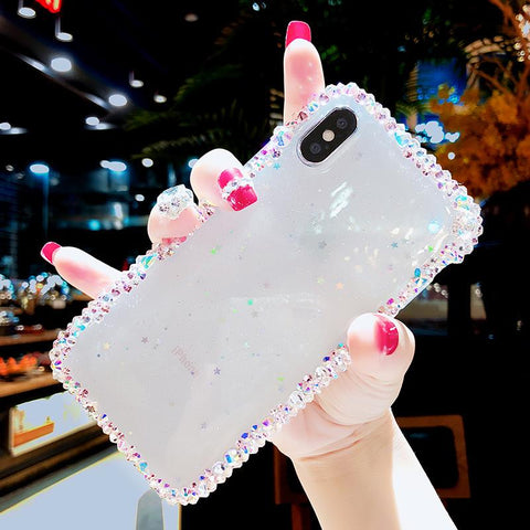 BlingQueenAu Bling Diamond Handmade Luxury Handmade Sparkle Clear Rhinestones Case For Iphone X/XS/XR/8/8 Plus/7/6