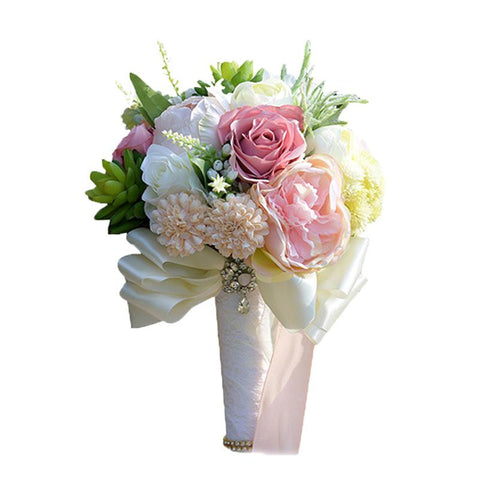 BlingQueenAu Handmade Romantic Silk Roses with Deluxe Bridal Wedding Bouquet Silk Rose