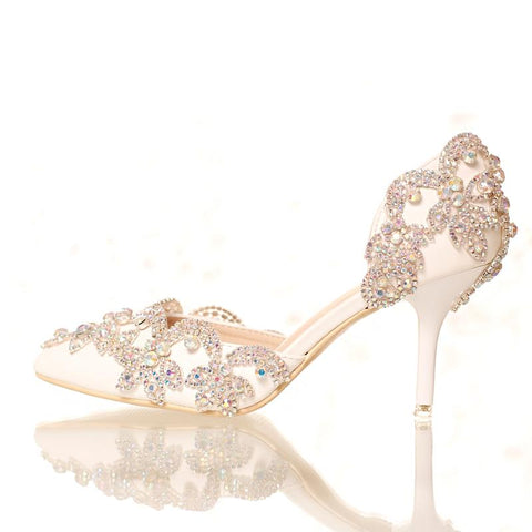 BlingQueenAu Ivory Womens Rhinestone Sparkling Bling Wedding Sandal Bridal shoes with ankle strap| White Wedding Sandal
