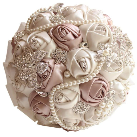 BlingQueenAu Luxury Handmade Romantic Silk Roses with Deluxe Rhinestones Pearl Bridal Wedding Bouquet Silk Rose