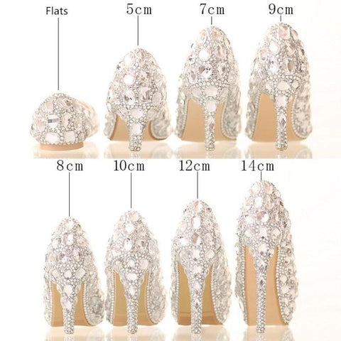 BlingQueenAu Personalized Stylish Women Bling Rhinestone Bridal Shoes/Heels Crystals Pumps/Party & Evening